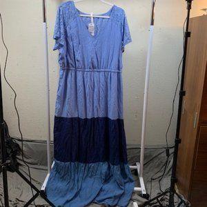 NY Collection Tri-Color Blue V-Neck Maxi Dress 2X